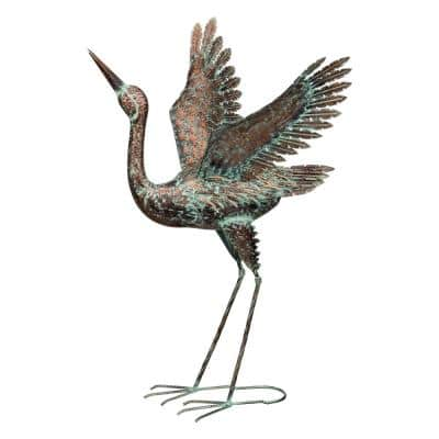 38 in. Green Patina Crane - Wing Up