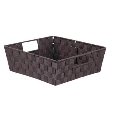 15 in. D x 5 in. H x 13 in. W Brown Fabric Cube Storage Bin