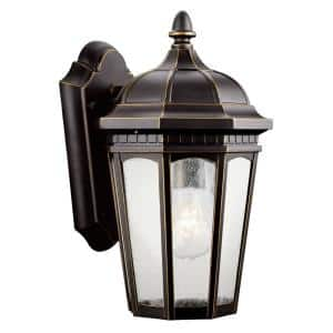Courtyard 11 in. 1-Light Rubbed Bronze Outdoor Wall Mount Sconce with Clear Seeded Glass