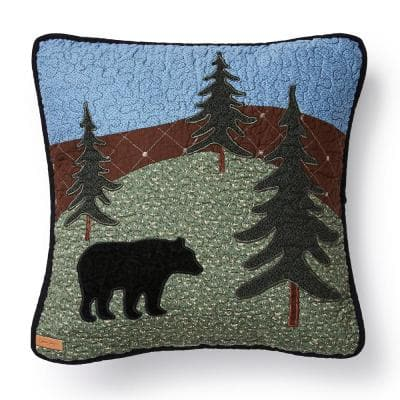 Bear Lake Black, Blue, Green Polyester 16 in. x 16 in. Square Decorative Throw Pillow