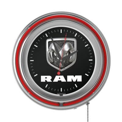Neon Wall Clock Logo Black and Red with Pull Chain-Pub Garage or Man Cave Accessories Double Rung Analog Clock