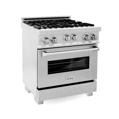 """ZLINE 30"""" 4.0 cu. ft. Range with Gas Stove and Gas Oven in DuraSnow® Stainless Steel (RGS-SN-30)"""