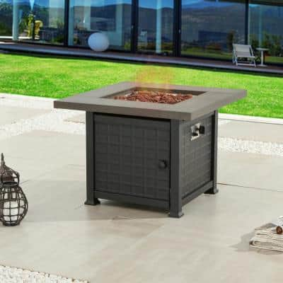 34 in. x 25 in. Square Metal Propane Fire Pit Table with Lava Stone