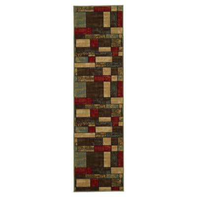 Ottohome Collection Multicolor Boxes Design 2 ft. 7 in. x 10 ft. Runner