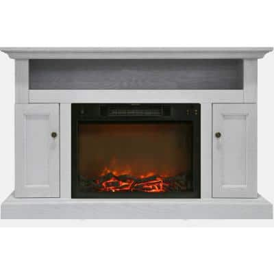 Kingsford 47 in. Electric Fireplace with 1500-Watt Log Insert and Entertainment Stand in White