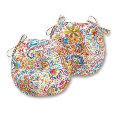 Jamboree Paisley 15 in. Round Outdoor Seat Cushion (2-Pack)
