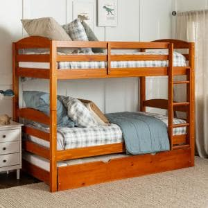 Solid Wood Twin over Twin Bunk Bed + Storage/Trundle Bed - Honey