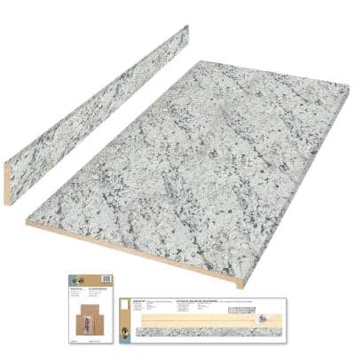 4 ft. Cream Laminate Countertop Kit with Full Wrap Ogee Edge in White Ice Granite Etchings