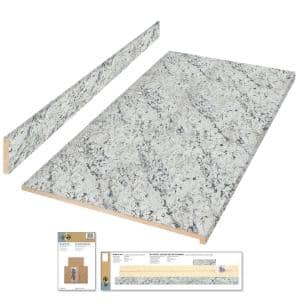 8 ft. Cream Laminate Countertop Kit with Eased Edge in White Ice Granite Etchings