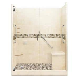 American Bath Factory Tuscany Freedom Grand Hinged 34 In X 60 In X 80 In Left Drain Alcove Shower Kit In Desert Sand And Satin Nickel Afgh 6034dt Ld Sn The Home Depot