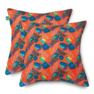 18 in. L x 18 in. W Outdoor Accent Throw Pillows in Pool Party Flamingo (2-Pack)