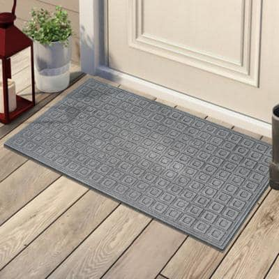 A1HC Matrix Charcoal Grey 24 in. x 36 in.Eco-Poly Entrance Mats with Anti-Slip Fabric Finish and Tire Crumb Backing
