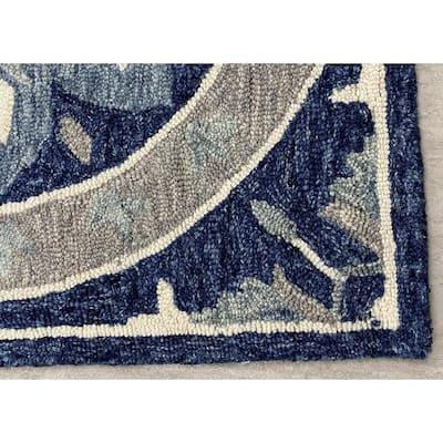 Zeno Blue 5 ft. x 7 ft. Geometric Medallions Wool Area Rug