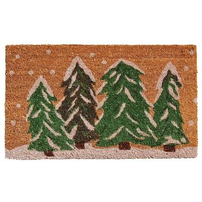 Winter Wonderland 24 in. x 36 in. Coir Door Mat