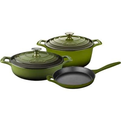 PRO Range 5-Piece Cast Iron Cookware Set in Olive Green