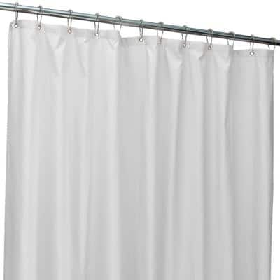 70 in. x 72 in. White Microfiber Soft Touch Dash Design Shower Curtain Liner