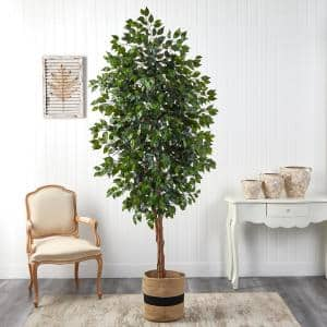 8 ft. Green Ficus Artificial Tree in Handmade Natural Cotton Planter