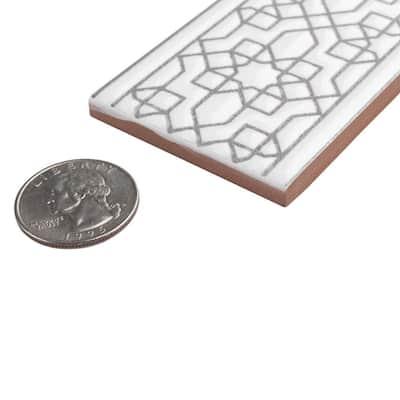 Sevillano Listello Estrella White 2 in. x 7-7/8 in. Ceramic Wall Trim Tile