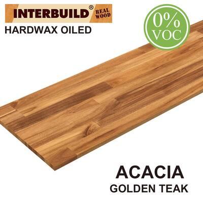 3/4 in. x 16 in. x 5 ft. Acacia Appearance Board, Golden Teak