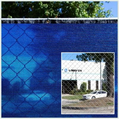 5 ft. x 50 ft. Blue Privacy Fence Screen Mesh Fabric Cover Windscreen with Reinforced Grommets for Garden Fence