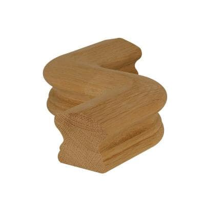 7547 Unfinished Wood White Oak Right-Hand S Hand Rail Fitting