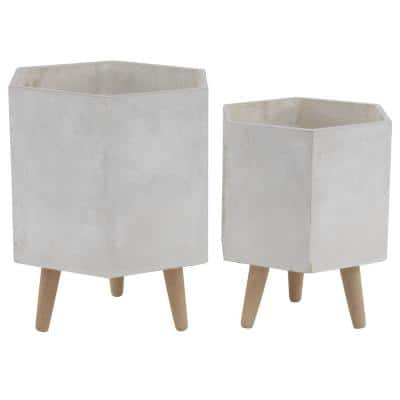 16 in. White Fiber Clay Contemporary Planter (2-Pack)