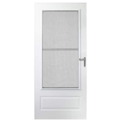 30 in. x 80 in. 300 Series White Universal Triple-Track Aluminum Storm Door with Nickel Hardware