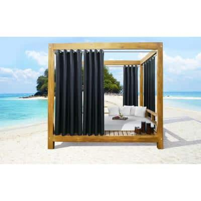 Seascapes 50 in. W x 96 in. L Light Filtering Grommet Indoor/Outdoor Curtain Panel Pair in Black