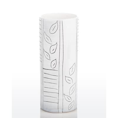 Black and White Ceramic Glazed Graffiti Cylinder Vase
