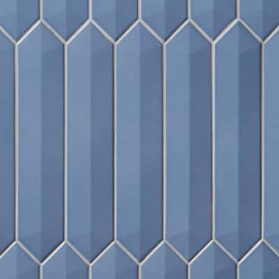 Axis 3D 2.6 in. x 13 in. Blue Polished Elongated Hex Ceramic Wall Tile (9.04 sq. ft. / case)