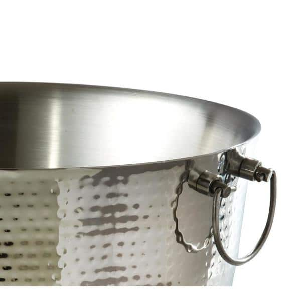 Elegance 5 75 Gal Hammered Stainless Steel Party Tub With Double Wall Insulation And Carrying Handles 72618 The Home Depot