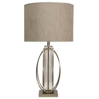 34 in. Brushed Steel Table Lamp with Taupe Hardback Fabric Shade
