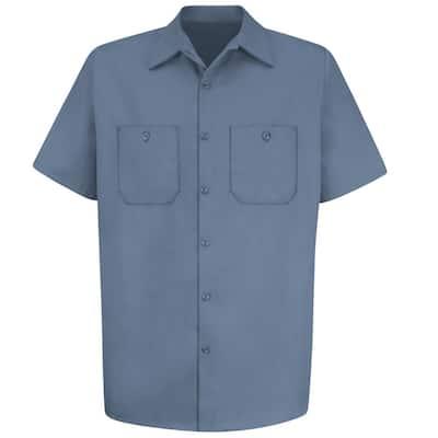 Men's Size L Postman Blue Wrinkle-Resistant Cotton Work Shirt