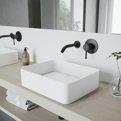 Olus Single-Handle Wall Mount Bathroom Faucet in Matte Black