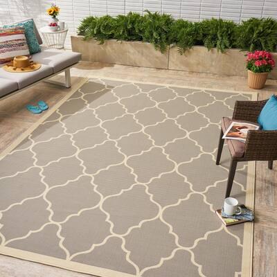 Barrett Grey 8 ft. x 11 ft. Geometric Polypropylene Indoor/Outdoor Area Rug