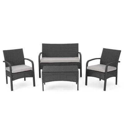 Tadeo Gray 4-Piece Wicker Patio Conversation Set with Silver Cushions