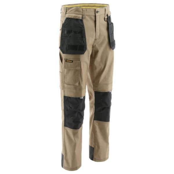 Caterpillar H20 Defender Men S 46 In W X 30 In L Sand Graphite Cotton Polyester Water Resistant Stretch Cargo Work Pant 1810008x 12194 46 30 The Home Depot
