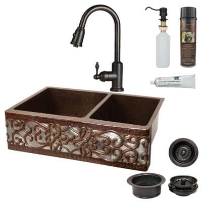 All-in-One Copper 33 in. 60/40 Double Bowl Kitchen Farmhouse Apron Front Scroll Sink with Faucet in ORB and NI