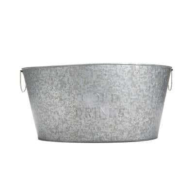 26 qt. Large Silver Metal Beverage Tub with Handles