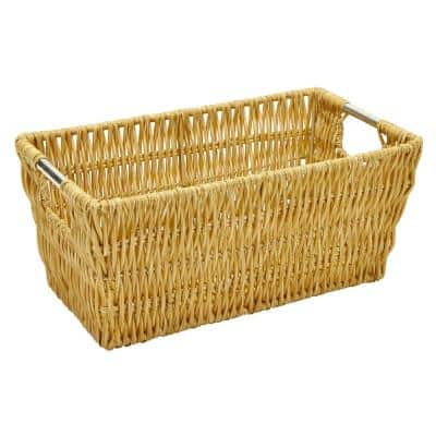 4.5 in. x 6.5 in. Natural Tan Large Rattan Storage Basket