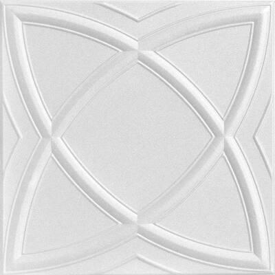 Elliptic Illusion 1.6 ft. x 1.6 ft. Glue Up Foam Ceiling Tile in Plain White (21.6 sq. ft./case)