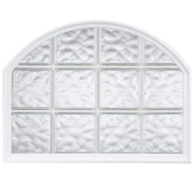 42 in. x 50 in. Acrylic Block Arch Top Vinyl Window in White