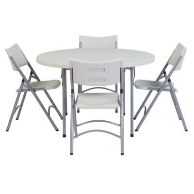 5-Piece Speckled Grey Folding Table Set 48 in. Plastic Round Table and Outdoor Safe Plastic Folding Chairs (Set of 4)