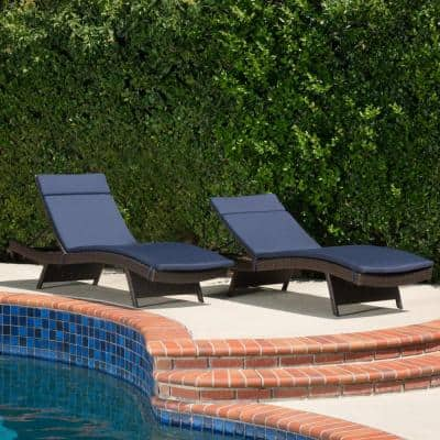 Salem Navy Blue 2-Piece Deep Seating Outdoor Chaise Lounge Cushion (2-Pack)