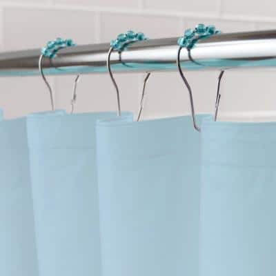 PEVA 72 in. Blue Shower Curtain Liner and Rolling Ring Set