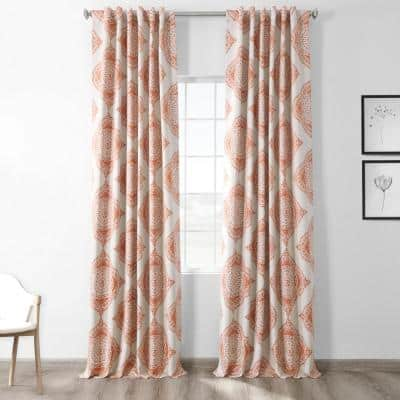 Henna Floral Blackout Curtain - 50 in. W x 84 in. L
