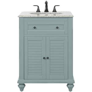 Hamilton Shutter 25 in. W x 22 in. D Bath Vanity in Sea Glass with Granite Vanity Top in Grey