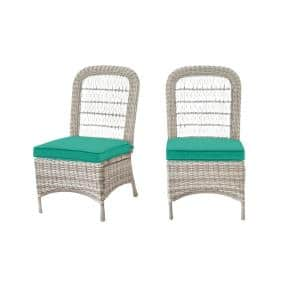 Beacon Park Gray Wicker Outdoor Patio Armless Dining Chair with CushionGuard Seaglass Turquoise Cushions (2-Pack)