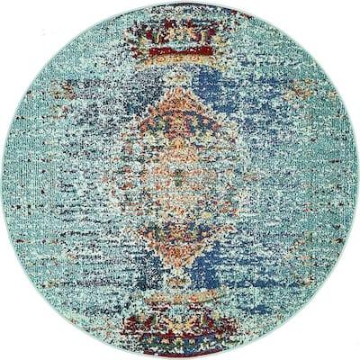 Vita Warhol Turquoise 4' 0 x 4' 0 Round Rug