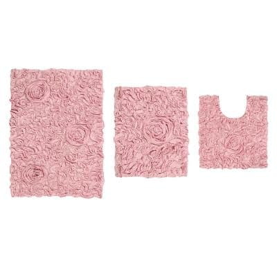 Bell Flower Collection Pink 17 in. x 24 in. / 21 in. x 34 in. / 20 in. x 20 in. Bath Rug Set